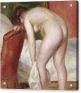 Female Nude Drying Herself Acrylic Print