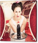 Female Postcard Pinup Girl In 60s Restaurant Acrylic Print