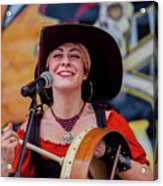 Female Stage Performer With Drum Acrylic Print