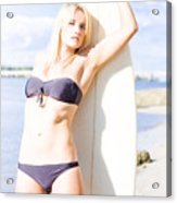 Female Surfer In Sun With Surf Board Acrylic Print