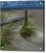 Fence And Dune Grass Acrylic Print