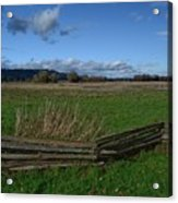 Fence And Open Field Acrylic Print