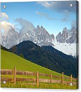 Fence At Val Di Funne Acrylic Print