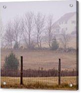 Fence Field And Fog Acrylic Print