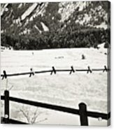 Fence Lines And Flatirons Acrylic Print
