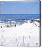 Fence On The Beach, Gulf Of Mexico, St Acrylic Print