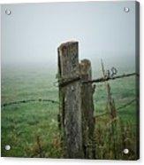 Fence Post And Fog Acrylic Print