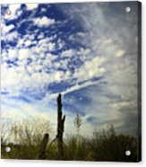 Fence Post And New Mexico Sky Acrylic Print