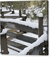 Fence Post At Donner Lake Area Covered Acrylic Print
