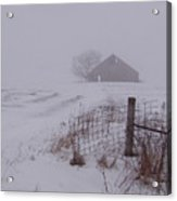 Fence Post In The Snow Acrylic Print