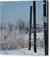 Fence Posts In Ice Acrylic Print