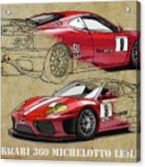 Ferrari 360 Michelotto Le Mans Race Car. Two Drawings One Print Acrylic Print