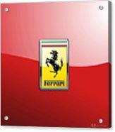 Ferrari 3D Badge-Hood Ornament on Red Acrylic Print