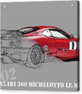 Ferrari Michelotto Race Car. Handmade Drawing. Number 9 Le Mans Acrylic Print