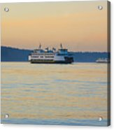 Ferries At Sunset Acrylic Print