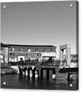Ferry Building And Pinnacle Building - San Francisco Embarcadero - Black And White Acrylic Print