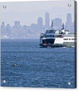 Ferry Versus Kayaker Acrylic Print
