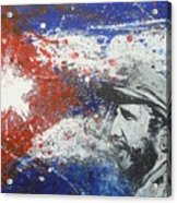 Fidel Castro Cuban Flag Acrylic Print