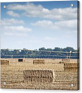 Field With Straw Bale And Center Pivot Sprinkler System Agricult Acrylic Print