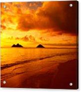 Fiery Lanikai Beach Acrylic Print