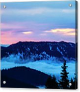 Fiery Sunrise From Mt. Hood Acrylic Print