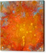 Fiery Sunset Abstract Painting Acrylic Print by Julia Apostolova