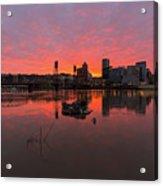 Fiery Sunset Over Portland Skyline Acrylic Print