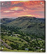 Fiery Sunset Panorama Over Davis Mountains State Park - Keesey Canyon Blue Mountain Limpia Canyon - Acrylic Print