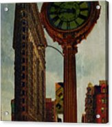 Fifth Avenue Clock And The Flatiron Building Acrylic Print