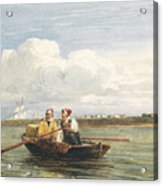 Figures In A Boat On The Thames, Gravesend Acrylic Print