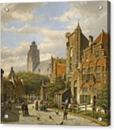 Figures In The Streets Of A Wintry Dutch Town Acrylic Print