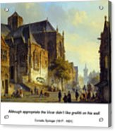 Figures On A Market Square In A Dutch Town 1843 Acrylic Print