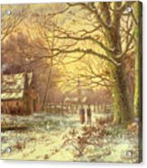 Figures On A Path Before A Village In Winter Acrylic Print by Johannes Hermann Barend Koekkoek