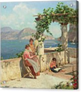 Figures On A Terrace In Capri  Acrylic Print