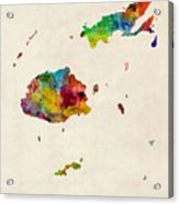 Fiji Watercolor Map Acrylic Print