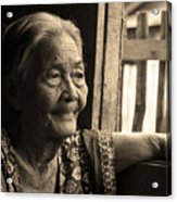 Filipino Lola - Image 14 Sepia Acrylic Print