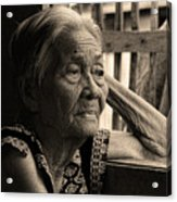 Filipino Lola Image Number 33 In Black And White Sepia Acrylic Print