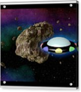 Film Frame With Asteroid And Ufo Acrylic Print