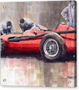 Final Check Before The Start Maserati 250 F 1957 Acrylic Print