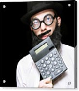 Financial And Accounting Genius With Calculator Acrylic Print