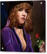 Fine Art Digital Portrait Stevie Nicks Crescent Moon Top Hat Acrylic Print