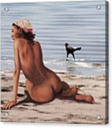 Fine Art Female Nude Multimedia Oil Painting Stacy Sitting Gulf Coast Florida Acrylic Print