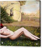 Fine Art Female Nude Niki Goddess Diana Reclining Multimedia Painting Acrylic Print