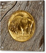 Fine Gold Buffalo Coin On Rustic Wooden Background Acrylic Print