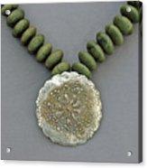 Fine Silver Doily Pendant On Green Jade Acrylic Print by Mirinda Kossoff