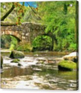 Fingle Bridge - P4a16013 Acrylic Print
