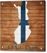 Finland Rustic Map On Wood Acrylic Print