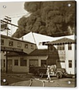 Fire At Cannery Row, Custom House Packing Company Sea Beach Cannery 1953 Acrylic Print