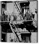 Fire Escape With Clothes Hung To Dry Acrylic Print