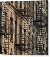 Fire Escapes On Brownstone Apartment Acrylic Print by Everett